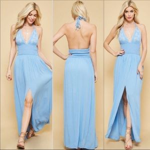 SKY BLUE EMBROIDERED MAXI DRESS (D1)